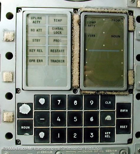 The Display & Keyboard (DSKY) mounted in the Main Display Console of the Apollo 13 spacecraft, Odyssey. Note the gimbal lock display in the second row. Credit: NASA/The Apollo Flight Journal