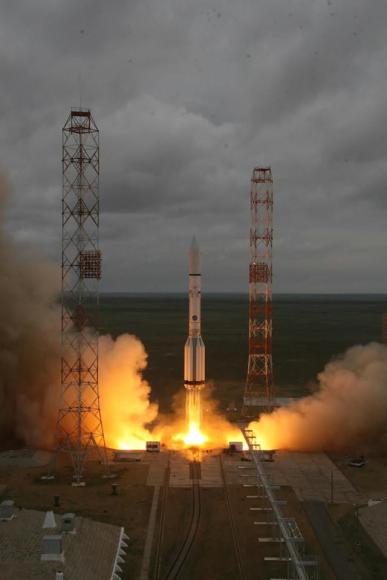 Russian Proton rocket blasts off at 11:47 a.m. local time (1:47 a.m. EDT) from the Baikonur Cosmodrome in Kazakhstan but ended in disaster about eight minutes later with destruction of the rocket and Mexican satellite payload heading to orbit Credit: Roscosmos