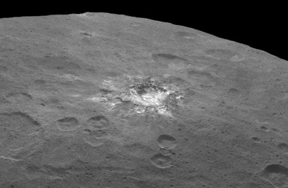 A rayed crater on Ceres with a great deal of fresh material (ice?) exposed by impact. Credit: NASA/JPL-Caltech/UCLA/MPS/DLR/IDA