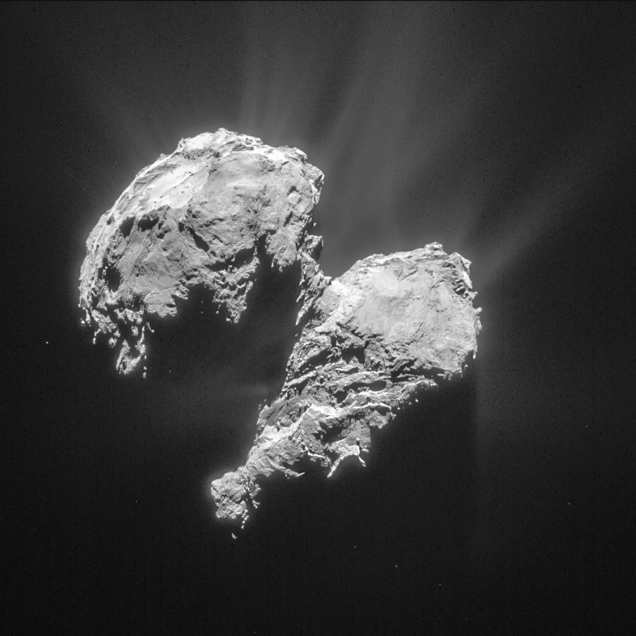 This single frame Rosetta navigation camera image was taken from a distance of 77.8 km from the centre of Comet 67P/Churyumov-Gerasimenko on 22 March 2015. The image has a resolution of 6.6 m/pixel and measures 6 x 6 km. The image is cropped and processed to bring out the details of the comet's activity. Credit: ESA/Rosetta/NAVCAM – CC BY-SA IGO 3.0