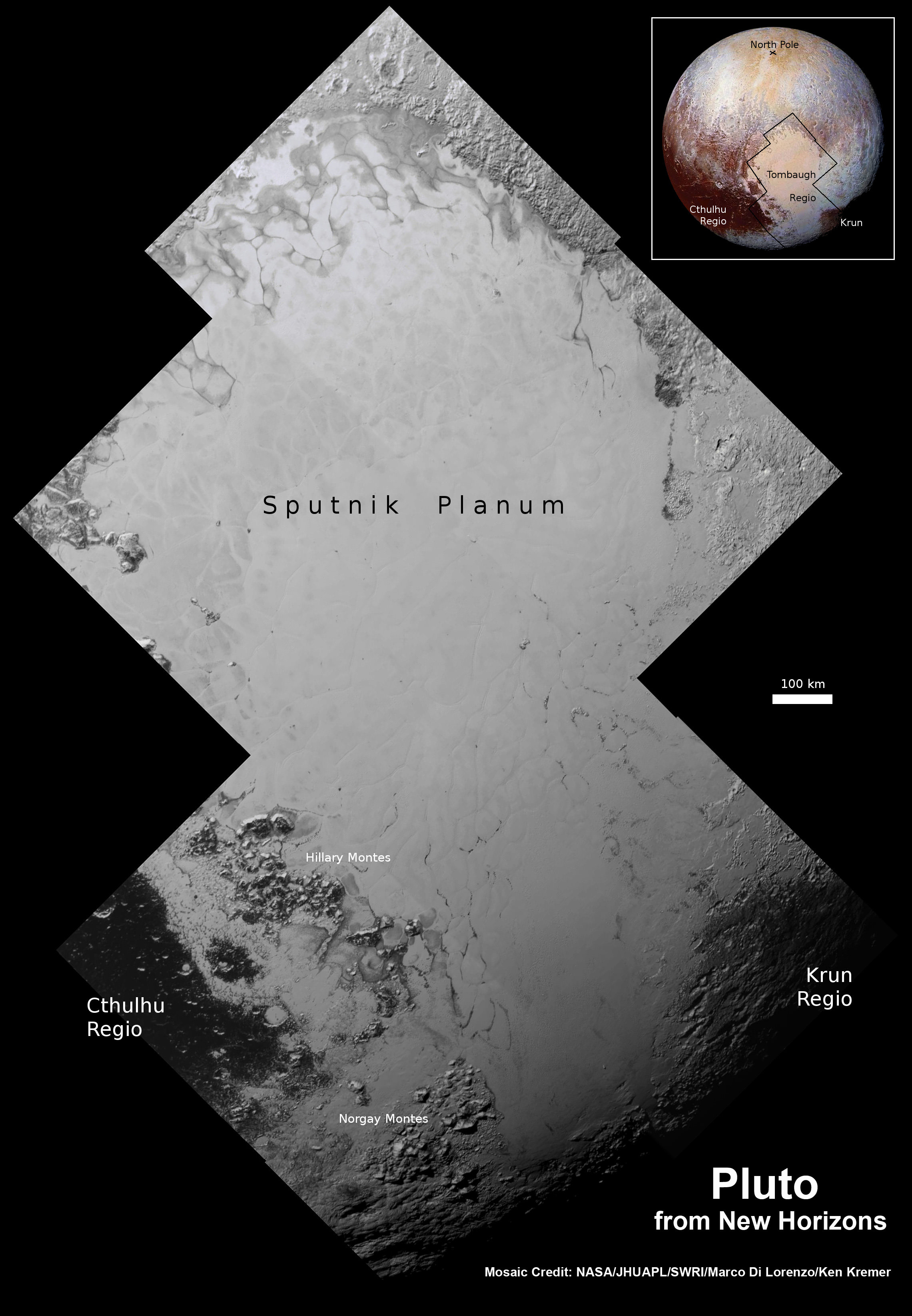 Highest resolution mosaic of 'Tombaugh Regio' shows the heart-shaped region on Pluto focusing on ice flows and plains of 'Sputnik Planum' at top and icy mountain ranges of 'Hillary Montes' and 'Norgay Montes' below.  This new mosaic combines the seven highest resolution images captured by NASA's New Horizons LORRI imager during history making closest approach flyby on July 14, 2015.  Inset at right shows global view of Pluto with location of mosaic and huge heart-shaped region in context.  Annotated with place names.  Credit: NASA/JHUAPL/SWRI/ Marco Di Lorenzo/Ken Kremer/kenkremer.com