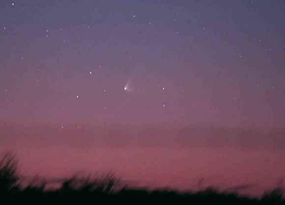 Comet C/2014 Q1 PanSTARRS looks pretty against pink at dusk as seen from Swan Hill, Victoria, Australia on July 15. Q1 is quickly moving up from the western horizon and shows three separate tails. Credit: Michael Mattiazzo