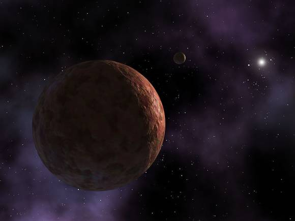 An artist's conception of Sedna. this assumes that Sedna has a tiny as yet undiscovered moon. Image credit; NASA/JPl-Caltech