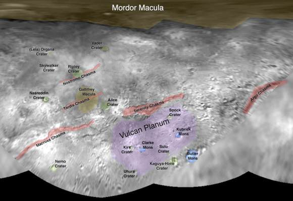 This image contains the initial, informal names being used by the New Horizons team for the features on Pluto's largest moon, Charon. Names were selected based on the input the team received from the Our Pluto naming campaign. Names have not yet been approved by the International Astronomical Union (IAU). Click for a pdf. Credit: NASA/Johns Hopkins University Applied Physics Laboratory/Southwest Research Institute
