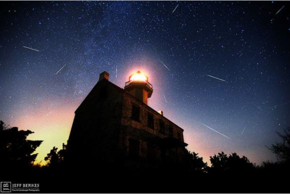 Perseid Meteor Shower over the East Point Light House in New Jersey, USA. Credit and copyright: Jeff Berkes.