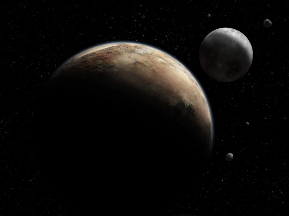Artist's impression of Pluto and its moons. Credit: NASA / Johns Hopkins University Applied Physics Laboratory / Southwest Research Institute