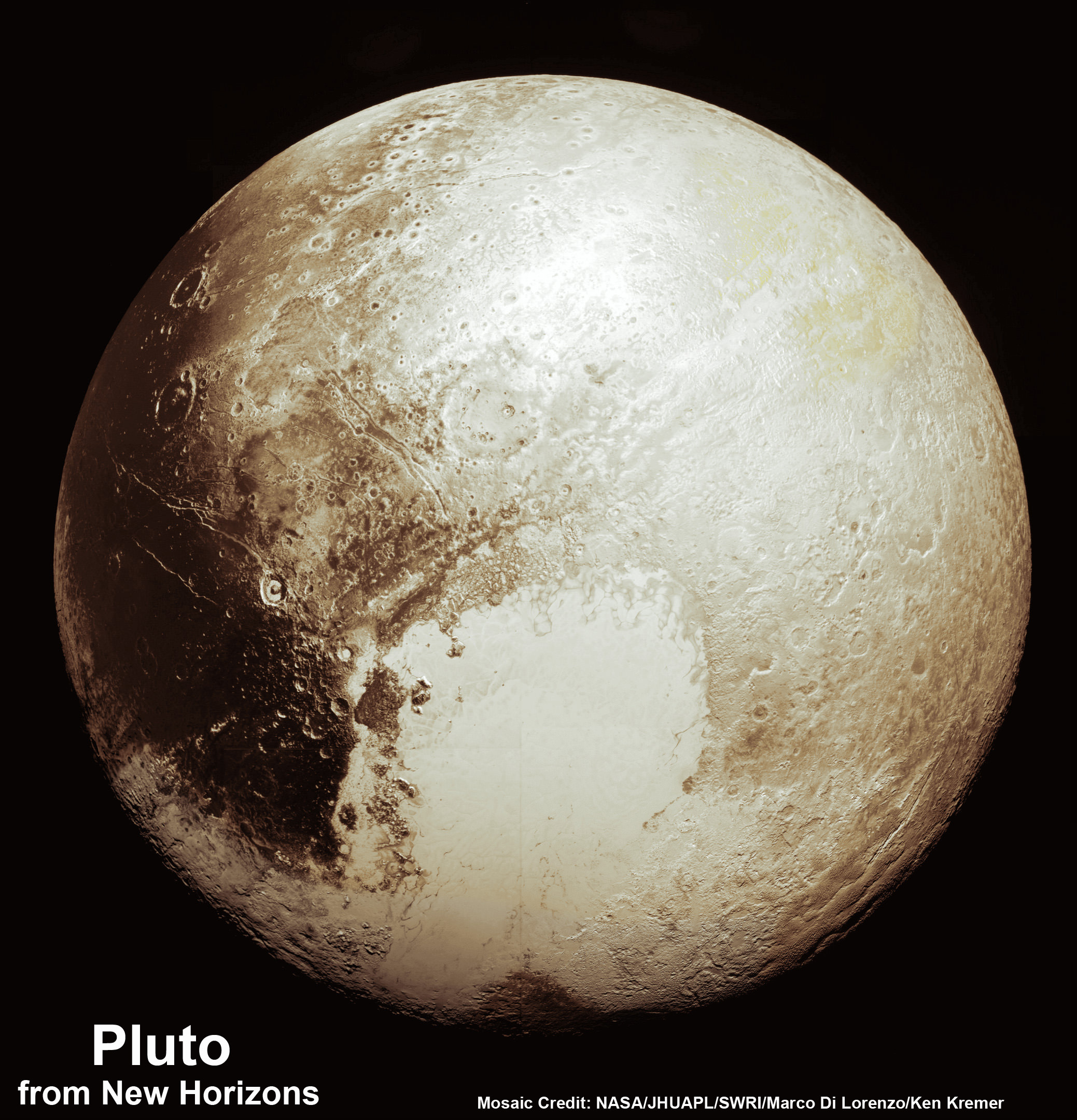 This new global mosaic view of Pluto was created from the latest high-resolution images to be downlinked from NASA's New Horizons spacecraft and released on Sept. 11, 2015.   The images were taken as New Horizons flew past Pluto on July 14, 2015, from a distance of 50,000 miles (80,000 kilometers).  This new mosaic was stitched from over two dozen raw images captured by the LORRI imager and colorized.  Credits: NASA/Johns Hopkins University Applied Physics Laboratory/Southwest Research Institute/Marco Di Lorenzo/Ken Kremer/kenkremer.com