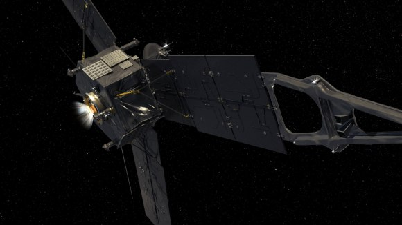 A computer-generated image of the Juno spacecraft. NASA/JPL-Caltech