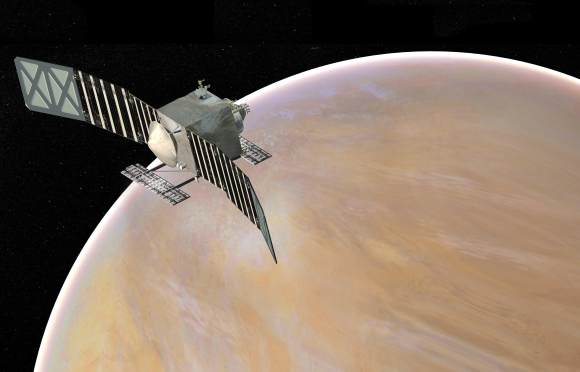 Artist's concept of the VERITAS (Venus Emissivity, Radio Science, InSAR, Topography, and Spectroscopy) spacecraft, a proposed mission for NASA's Discovery Program that would launch by the end of 2021. Credit: NASA/JPL-Caltech