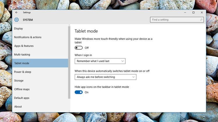 Windows 10-Tablet mode