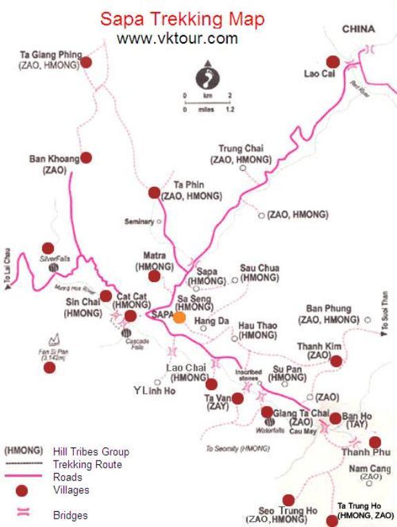 Mapa de trekking en Sapa