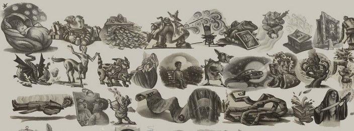 Las ilustraciones de los libros de Harry Potter en una sola imagen