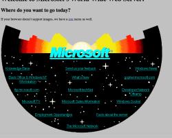 El sitio web de Microsoft 20 años atrás