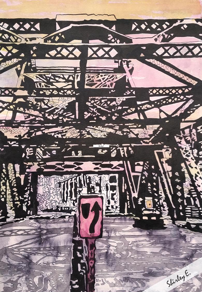 Watercolor of the Lefty O'Doul Bridge