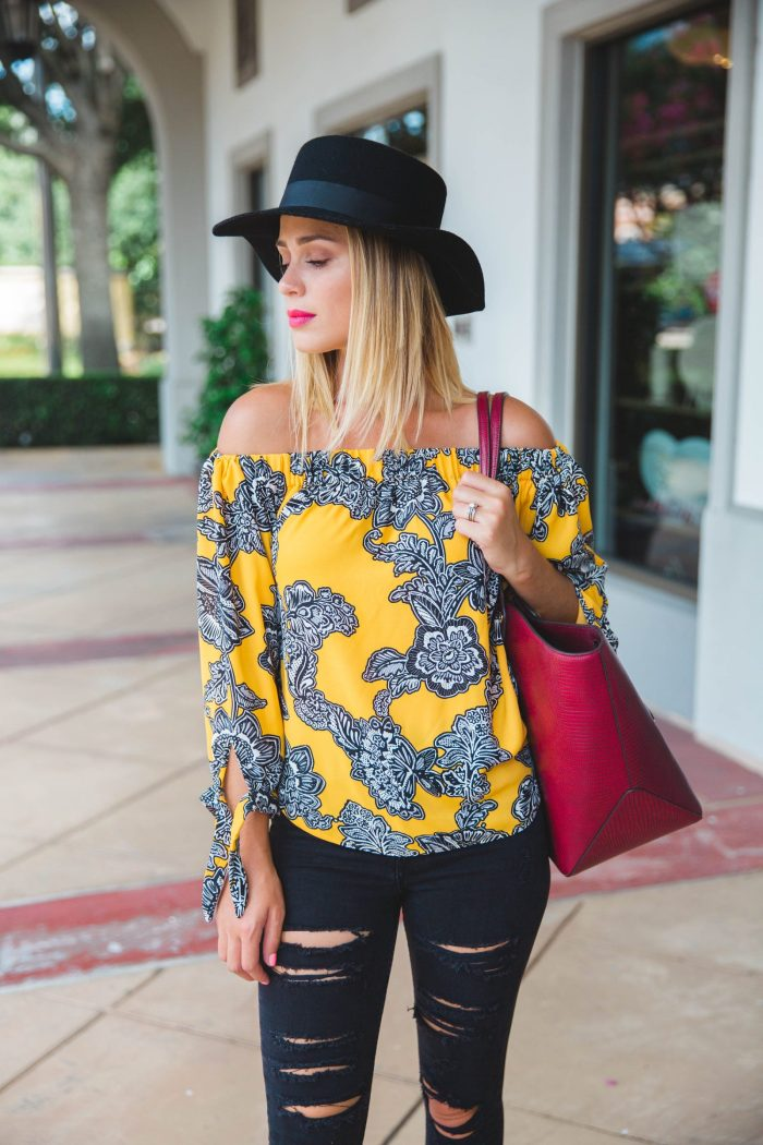 Street Edge: Off the shoulder tie sleeve blouse outfit