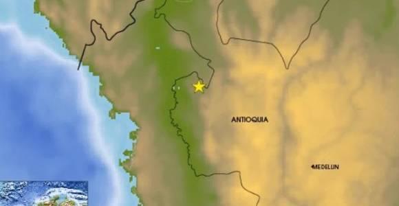 Fuerte sismo en la madrugada de este lunes en Antioquia