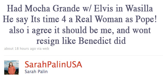 Palin's Pope Tweet