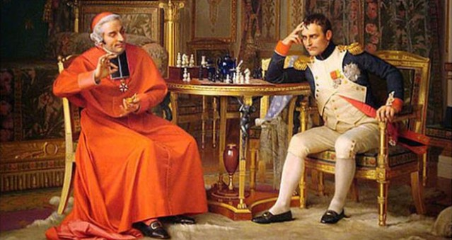 Jehan Georges Vibert Check  Napoleon and the Cardinal