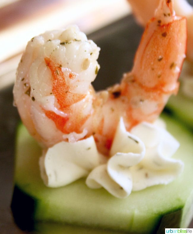 Food bliss easy entertaining shrimp cucumber canap s two for Cheese canape ideas