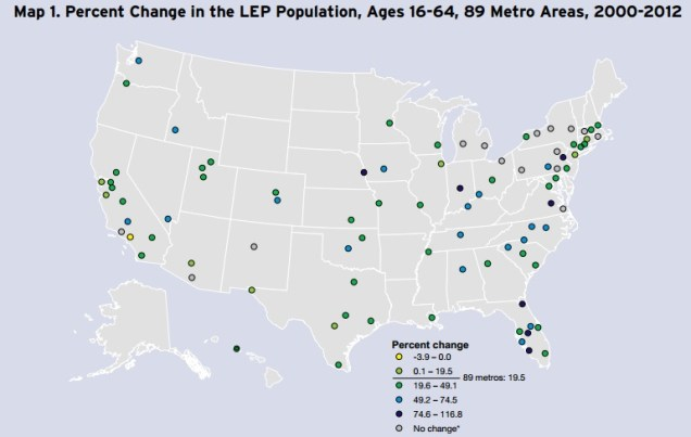 Percent Change in LEP Population [Brookings]