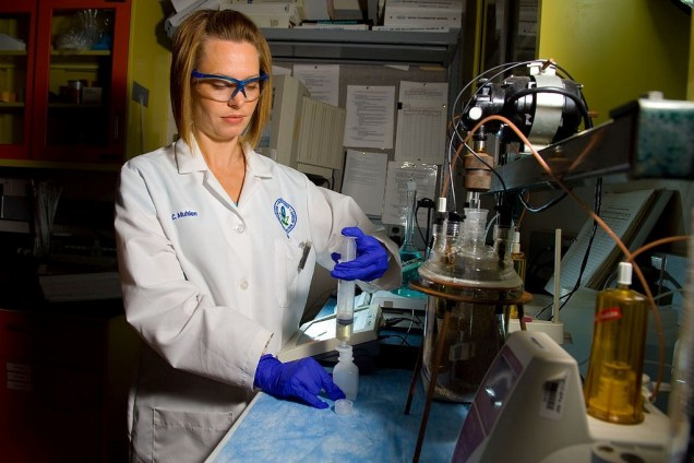 Christy Muhlen synthesizes lead particles to investigate lead contamination in drinking water. [Provided]