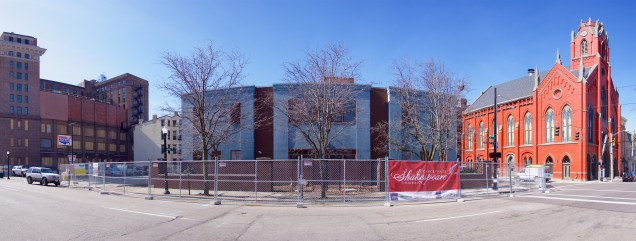 The former Drop Inn Center homeless shelter has now been demolished and will be replaced with a new theater for the Cincinnati Shakespeare Company. To the left is the Central Parkway YMCA, which is undergoing renovation. To the right is The Transept, a recently-opened bar and event space in a former church.