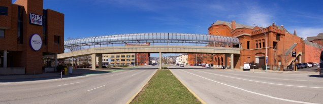 The skywalk linking Music Hall to the Town Center Garage is expected to be demolished during the renovation of Music Hall.