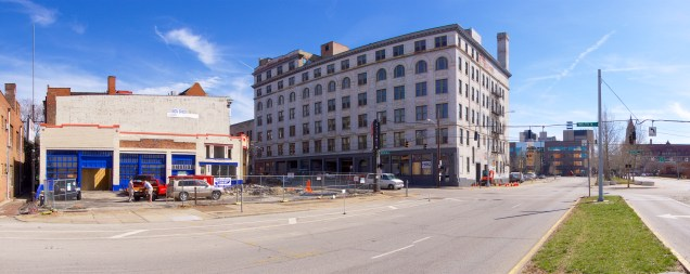 The former Queen City Radio building (left) is being redeveloped by Urban Expansion, and Grandin Properties plans to convert the historic Strietmann Biscuit Company building (center) to an 88,000 square foot office building.