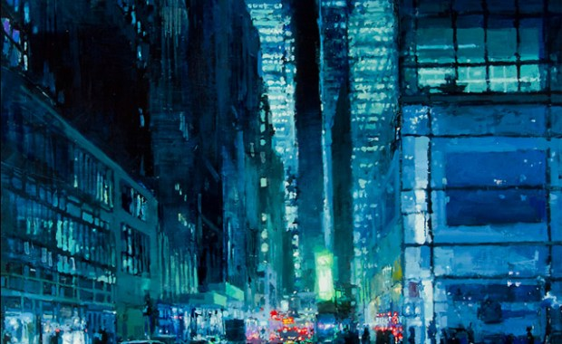 """New York Night in Blue"" - Oil on Panel - 48 x 36 inches - The John Pence Gallery"