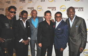 Deitrick Haddon, Bishop Ron Gibson, Pastor Wayne Chaney, Pastor Jay Haizlip and Bishop Clarence McClendon attend the 'Preachers of L.A.' Premiere in Los Angeles