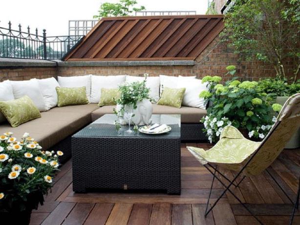 Patio Deck Balcony Design In Rooftop Garden Oasis