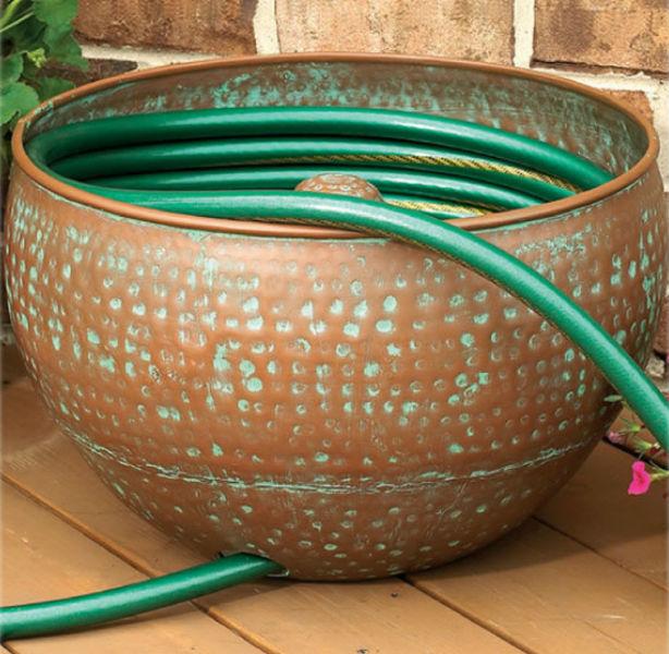 Hammered Copper Garden Hose Holder