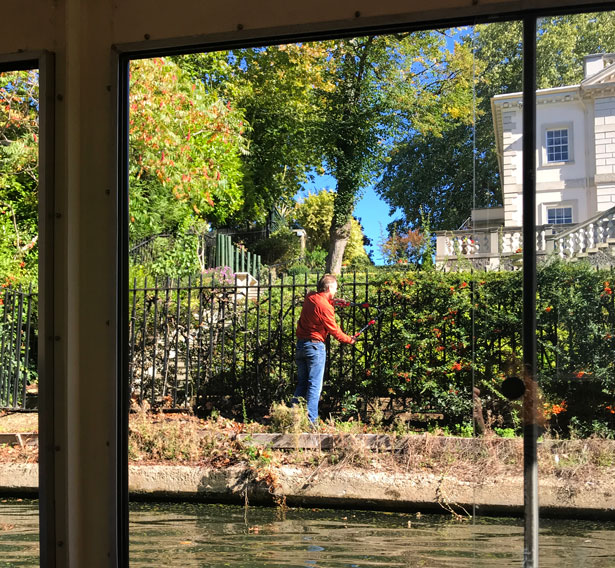 Garden of Regency style mansion on canal in London's Little Venice.