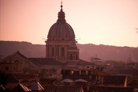panorama-al-tramonto-visto-da-villa-borghese,-sopra-Piazza-del-Popolo-moyan-brenn