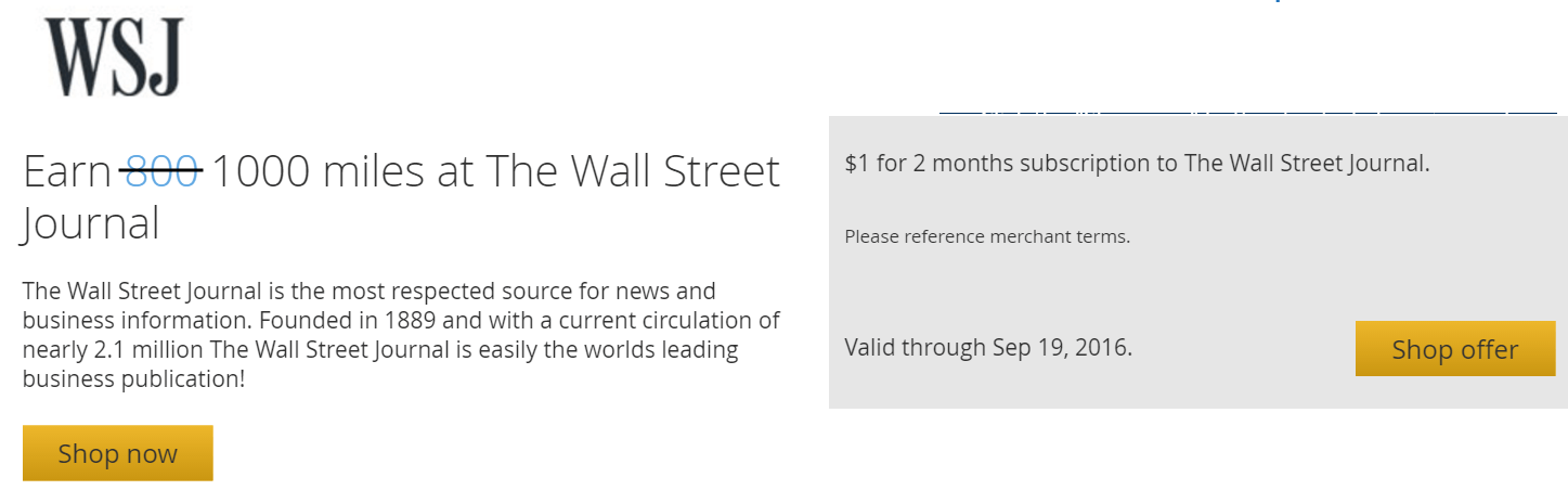 =1000UA里程+2个月Wall Street Journal