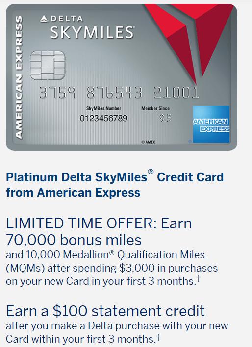 【9/29更新:史高70k+0+10k MQM】AMEX Platinum Delta SkyMiles 信用卡