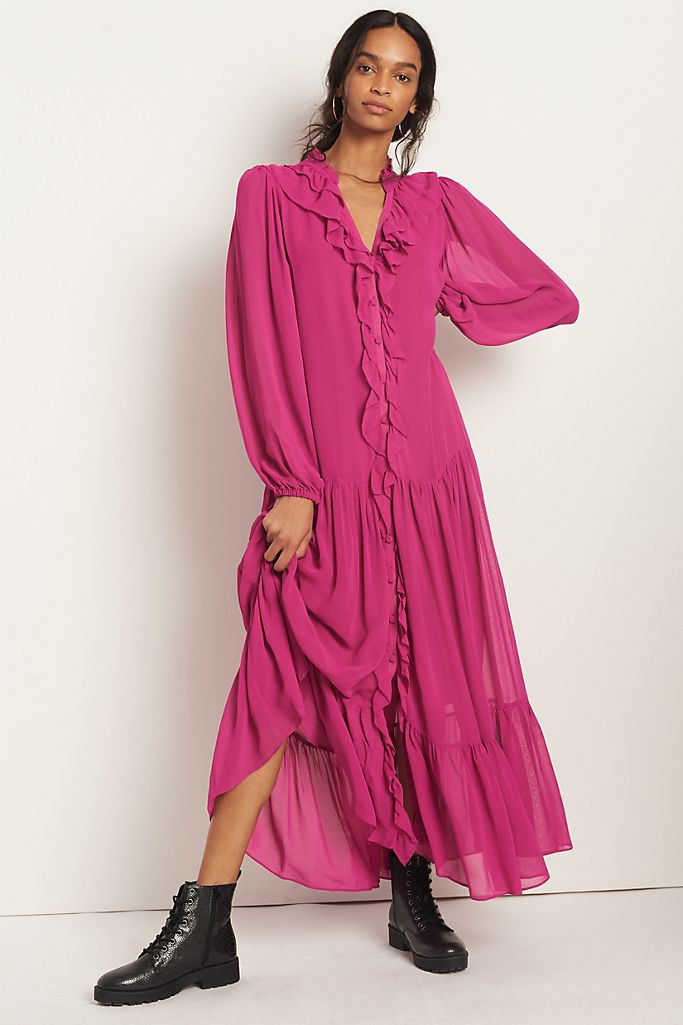 Farm Rio Culebra Ruffled Maxi Dress