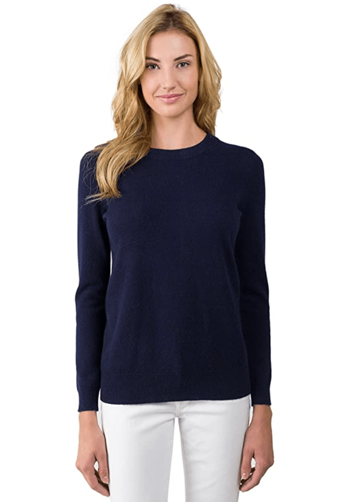 JENNIE LIU J Cashmere Women's 100% Cashmere Long Sleeve Pullover Crew Neck Sweater