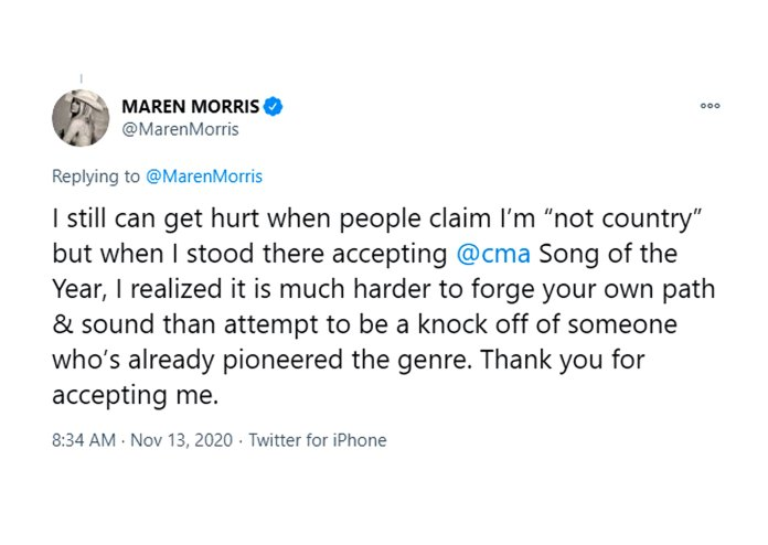 Maren Morris Says She Gets Hurt When People Claim Shes Not Country