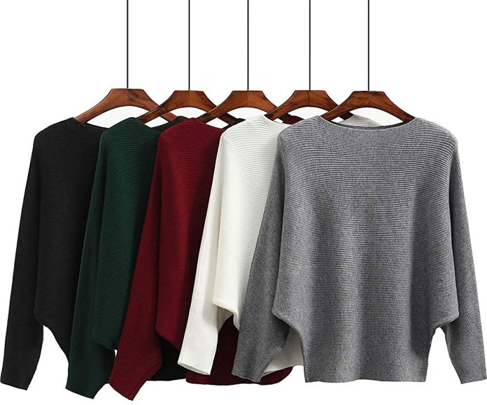 Ckikiou Batwing Cashmere Pullover