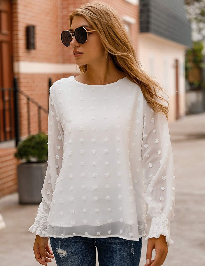 Blooming Jelly Chiffon Pom Pom Blouse