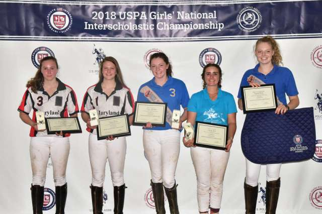 2018 Girls' National Interscholastic All-Stars:  Maddie Grant (Maryland Polo Club), Sophie Grant (Maryland Polo Club), Emma Sbragia (Hillside Polo Club), Cassidy Wood (Central Coast Polo Club), pictured with Sportsmanship Award recipient Sydney Weise (Hillside Polo Club).