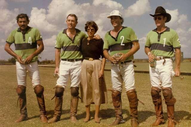 1985 U.S. Handicap Champions: Texas Lone Star - Fakir Fayyaz, Charles Smith, Paul Rizzo, Jimmy Newman, pictured with Marsha Smith at Retama Polo Center in San Antonio, Texas.
