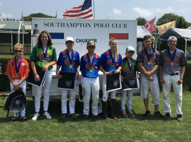Southampton Polo Club NYTS Qualifier All-Stars: (L to R) Luca Natella, Catie Stueck, Winston Painter, Kristos Magrini, Cory Williams, Mackenzie Weisz, Jed Cogan, Joe Post.