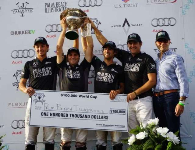 World Cup champions Jared Zenni, Santi Torres, Agustin Obregon and Tommy Collingwood of Palm Beach Illustrated with publisher Terry Duffy.