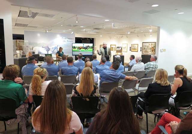Bob Delaney speaks to the Umpires, LLC at the Museum of Polo