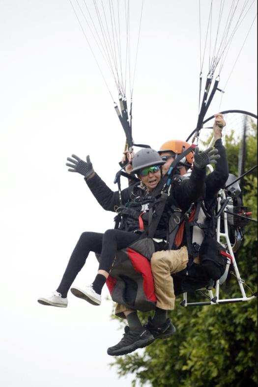 To celebrate her 75th birthday Judith Baker took a paraglide ride onto the Santa Barbara polo fields.©David Lominska.