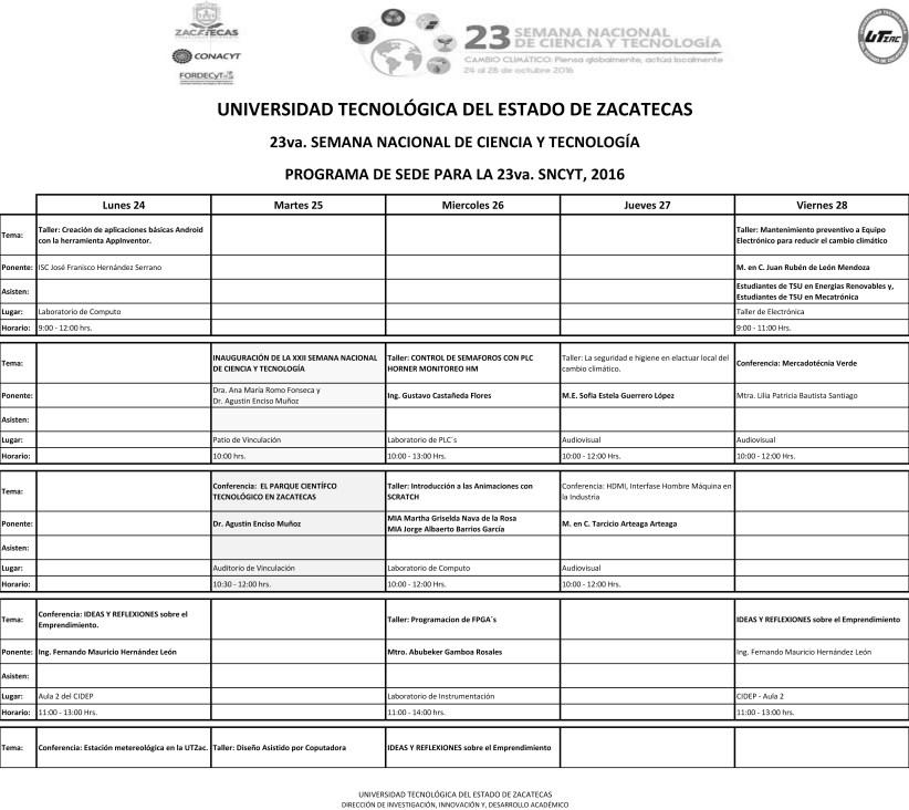 Ponentes Programados en la 23va SNCyT en la UTZAC-1 copy