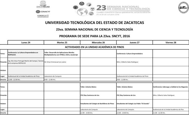 Ponentes Programados en la 23va SNCyT en la UTZAC-4 copy