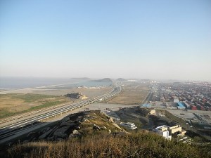 Shanghai's Yangshan Deep Water Port is mostly built on reclaimed land.